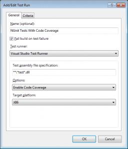 Test Settings für NUnit Tests mit Code Coverage