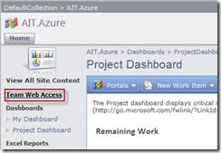Abbildung 2: Link zum Team Web Access im Project Portal des TFS 2010