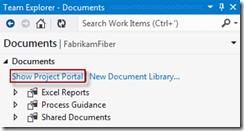 Abbildung 4: Link zum Project Portal im Documents Hub