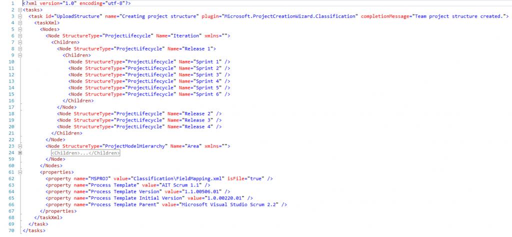 Abbildung 3: Classification.xml eines angepassten Process Templates