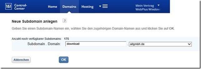 Hinterlegung einer Domain