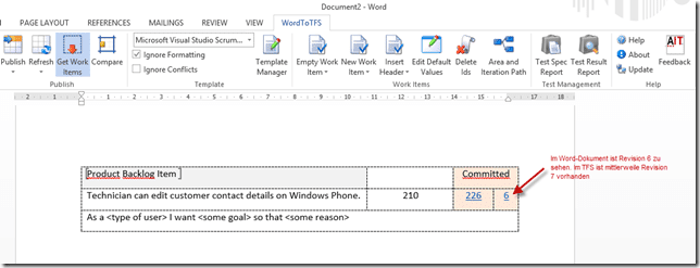 Abbildung 1: Work Item im Word Dokument