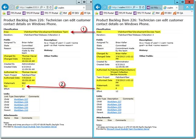 Abbildung 2: Vergleich zweier Work Item Revisionen