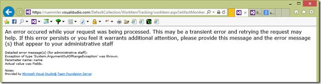 Abbildung 3: Fehlermeldung in Visual Studio Online
