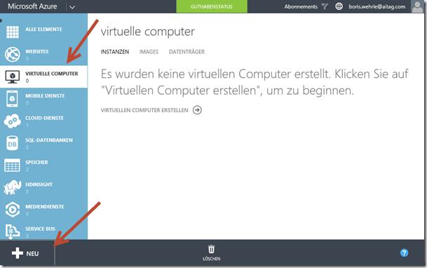 Einrichtung des virtuellen Computers
