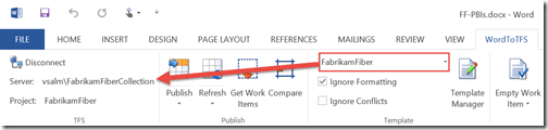 Figure 1: Document automatically connected to the right Team Project