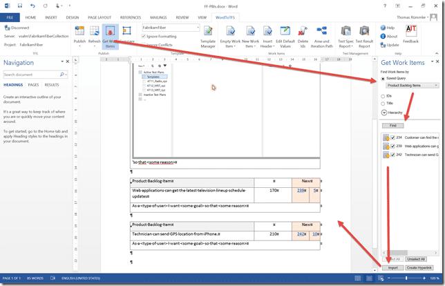 Figure 3: Get Work Items in WordToTFS