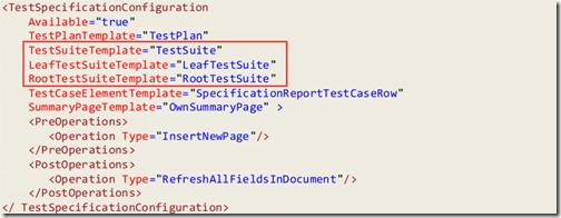 Figure 9: Test Specification Configuration Sample