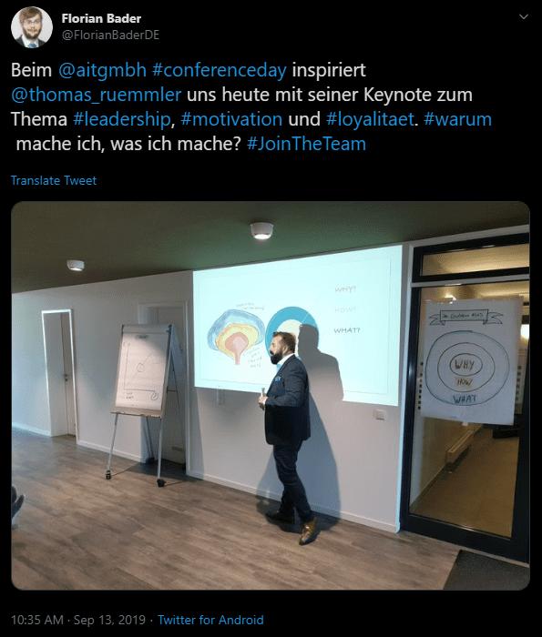Abbildung 2: Tweet von @FlorianBaderDE während der Keynote