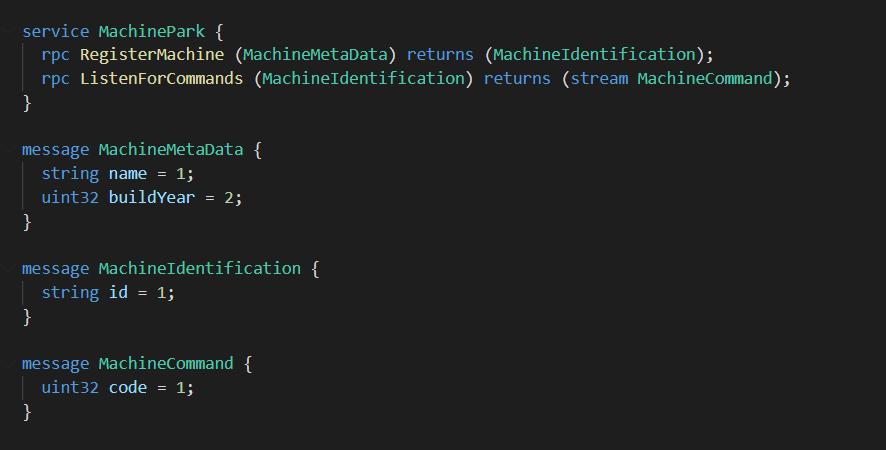 Listing MachinePark.proto - Beispiel einer gRPC Servicebeschreibung