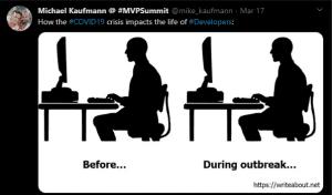 2 Bilder eines Softwareentwicklers. Einmal vor und einmal während der Corona-Krise. Für Entwickler hat sich scheinbar nichts verändert.