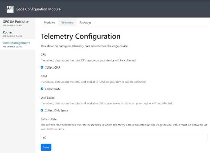 Telemetriekonfiguration eines Devices im AIT Edge Configuration-Module